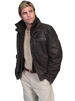 Scully Leather Jacket with a Zip-out Collar in Brown
